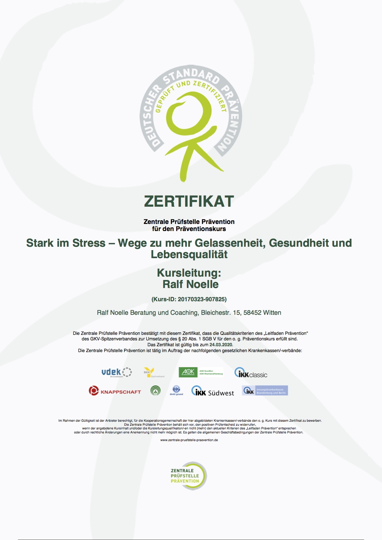 Zertifikat des Seminars -  Stark im Stress